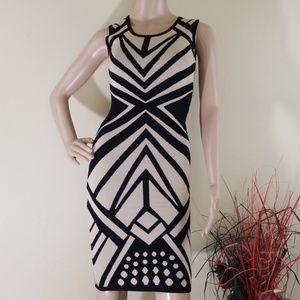 Bisou Bisou Black & Cream Sleevless Sweater Dress